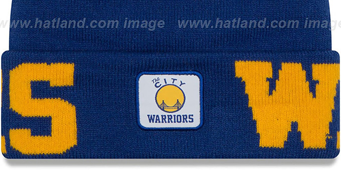 Warriors 'COLOSSAL-TEAM' Royal Knit Beanie Hat by New Era