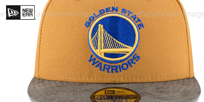 Warriors 'RUSTIC-VIZE' Wheat-Grey Fitted Hat by New Era