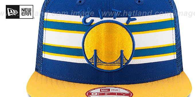 Warriors 'THROWBACK-STRIPE SNAPBACK' Royal-Gold Hat by New Era