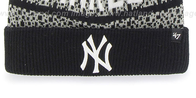 Yankees 'BEDROCK' Black-Grey Knit Beanie Hat by Twins 47 Brand
