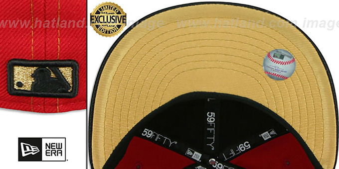 Yankees 'GOLD METAL-BADGE' Red-Black Fitted Hat by New Era