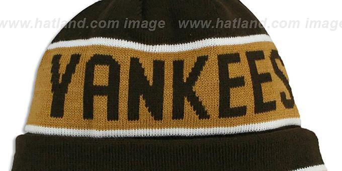 3df2c6f5f5f ... Yankees  THE-COACH  Brown-Wheat Knit Beanie Hat by New Era