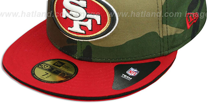 49ers '2T SPLIT NFL TEAM-BASIC' Army-Red Fitted Hat by New Era
