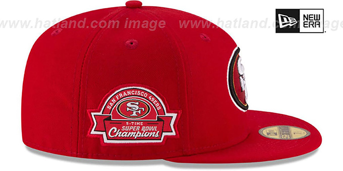 49ers 5X 'TITLES SIDE-PATCH' Red Fitted Hat by New Era