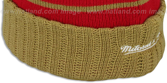 49ers 'HIGH-5 CIRCLE BEANIE' Red-Gold by Mitchell and Ness