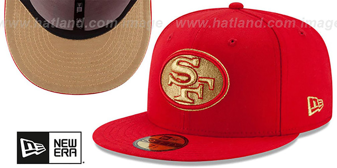 49ers 'SUPER BOWL XXIV GOLD-50' Red Fitted Hat by New Era