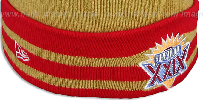 49ers 'SUPER BOWL XXIX' Gold Knit Beanie Hat by New Era