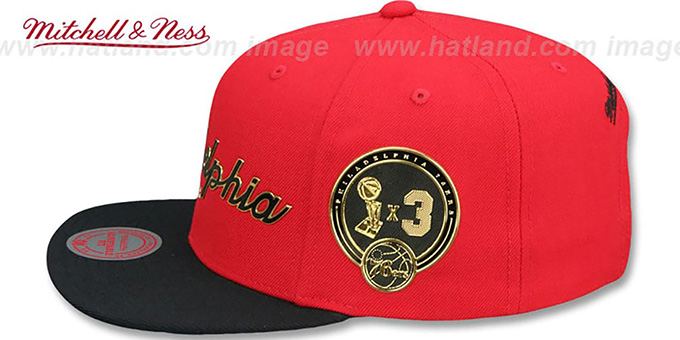 76ers 'CITY CHAMPS SCRIPT SNAPBACK' Red-Black Hat by Mitchell and Ness