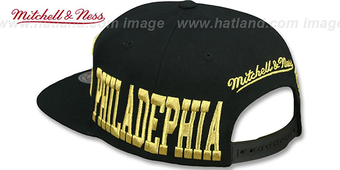 76ers 'METALLIC AREA-CODE SNAPBACK' Black Hat by Mitchell and Ness