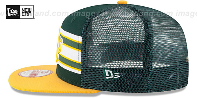 Athletics 'THROWBACK-STRIPE SNAPBACK' Green-Gold Hat by New Era