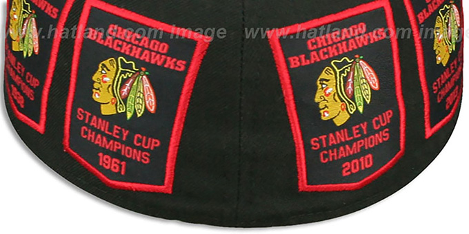 Blackhawks '6 TIME CHAMPS TOTAL-LOGO' Black Fitted Hat by New Era