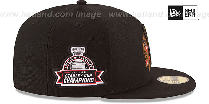 Blackhawks 6X 'TITLES SIDE-PATCH' Black Fitted Hat by New Era
