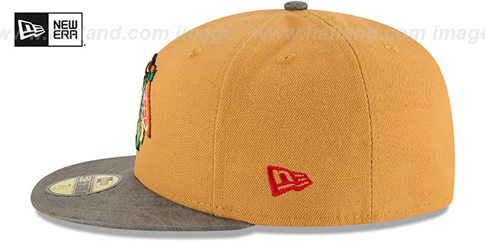 Blackhawks 'RUSTIC-VIZE' Wheat-Grey Fitted Hat by New Era