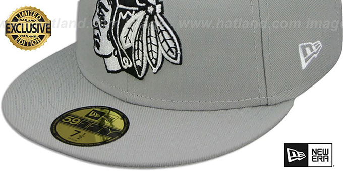 Blackhawks 'TEAM-BASIC' Grey-Black-White Fitted Hat by New Era