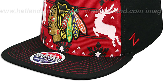 a1d363389a8b7 Chicago Blackhawks UGLY SWEATER SNAPBACK Black-Red Hat by Zephyr