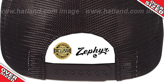 Blank 'OVER-SIZED MESH-BACK SNAPBACK' Black-Black Hat by Zephyr