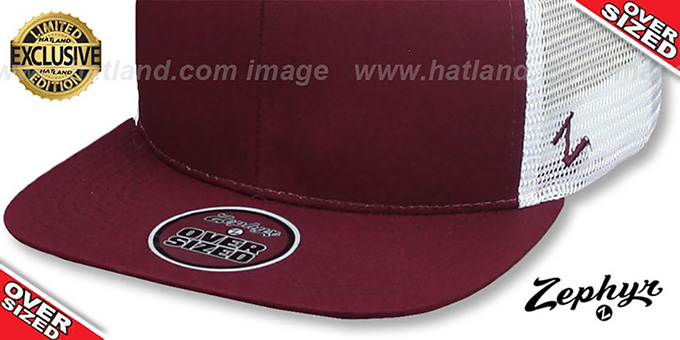 Blank 'OVER-SIZED MESH-BACK SNAPBACK' Maroon-White Hat by Zephyr