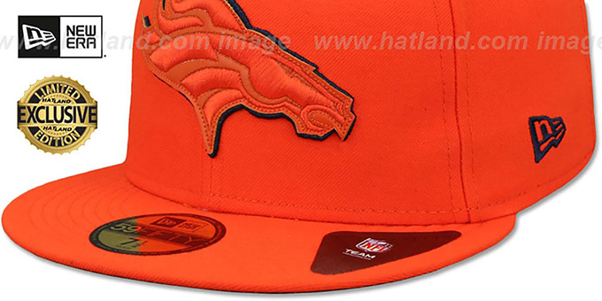Broncos 'LEATHER POP' Orange Fitted Hat by New Era