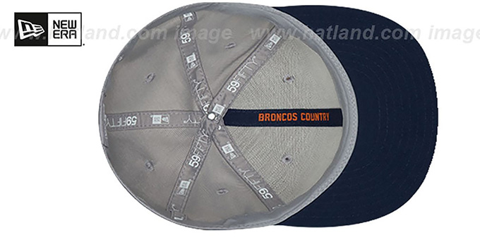 Broncos 'ROAD ONFIELD STADIUM' Grey-Navy Fitted Hat by New Era