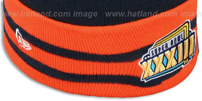 2caac7048 ... Broncos  SUPER BOWL XXXIII  Navy Knit Beanie Hat by New Era