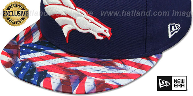 Broncos 'USA WAVING-FLAG' Navy Fitted Hat by New Era