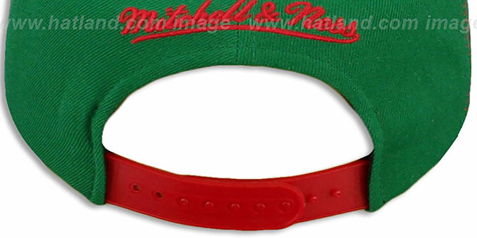 Bucks 'LASER-STITCH SNAPBACK' Green-Red Hat by Mitchell & Ness