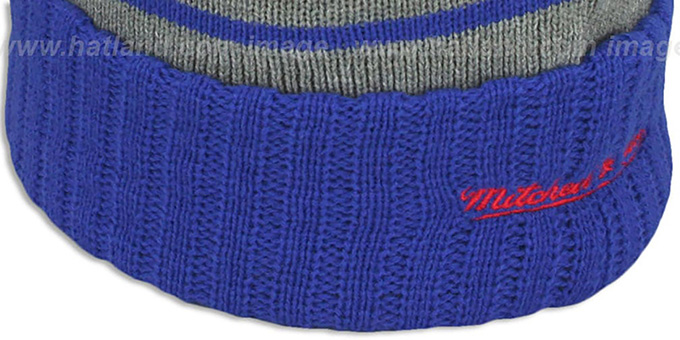 Bullets 'HIGH-5 CIRCLE BEANIE' Grey-Royal by Mitchell and Ness