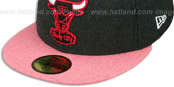 Bulls '2T-HEATHER ACTION' Charcoal-Red Fitted Hat by New Era