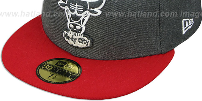 Bulls '2T-HEATHER' Charcoal-Red Fitted Hat by New Era