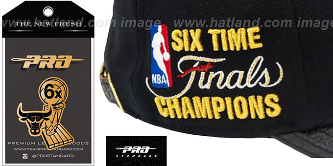 Bulls '6X CHAMPS GOLD METAL BADGE STRAPBACK' Black-Gold Hat by Pro Standard