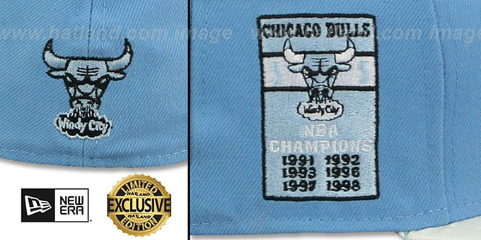 Bulls 6X 'PATENT BANNER SIDE-PATCH' Sky-White Fitted Hat by New Era