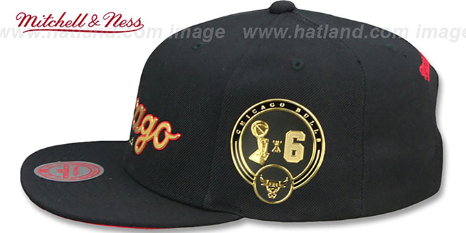 3aac3389e6d83 ... Bulls  CITY CHAMPS SCRIPT SNAPBACK  Black Hat by Mitchell and Ness