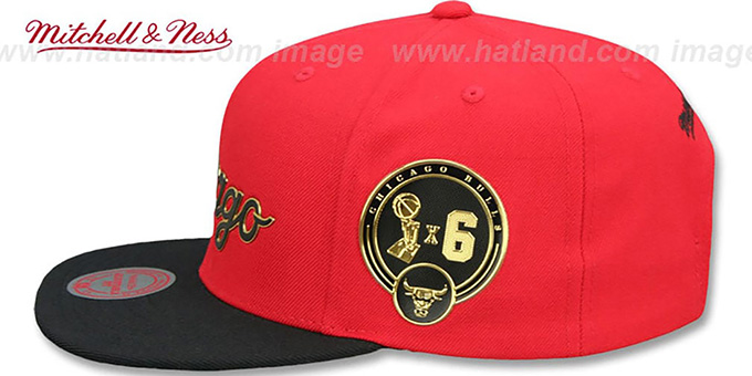 13e256cfb018f ... Bulls  CITY CHAMPS SCRIPT SNAPBACK  Red-Black Hat by Mitchell and Ness