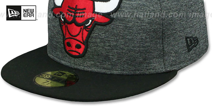 Bulls 'HEATHER-HUGE' Grey-Black Fitted Hat by New Era