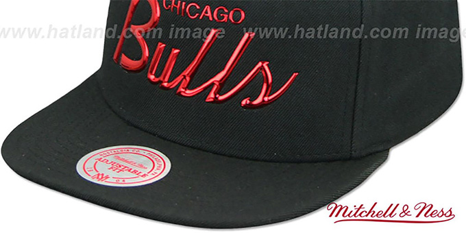 ... Bulls  LIQUID METALLIC SCRIPT SNAPBACK  Black-Red Hat by Mitchell and  Ness 4b541e5ae396