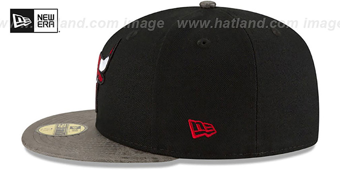 Bulls 'RUSTIC-VIZE' Black-Grey Fitted Hat by New Era