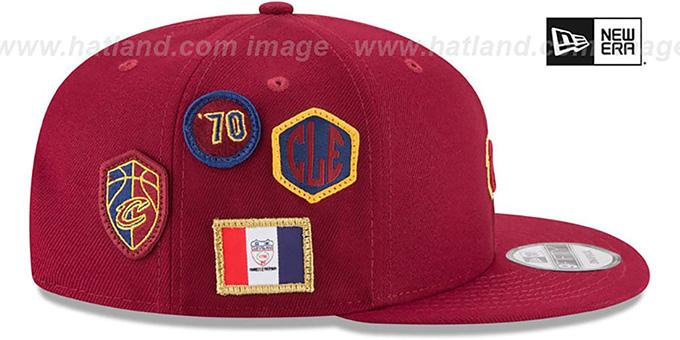 daa6937df ... Cavaliers  2018 NBA DRAFT SNAPBACK  Burgundy Hat by New Era