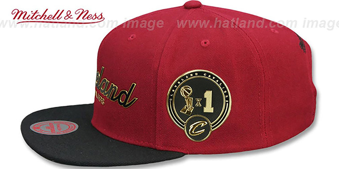Cavaliers 'CITY CHAMPS SCRIPT SNAPBACK' Burgundy-Black Hat by Mitchell and Ness