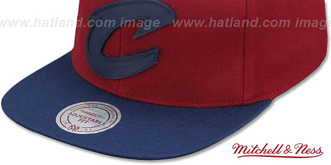 2db00092 ... Cavaliers 'XL RUBBER WELD SNAPBACK' Burgundy-Navy Adjustable Hat by  Mitchell and Ness