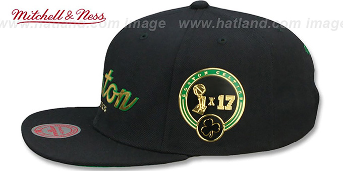 Celtics 'CITY CHAMPS SCRIPT SNAPBACK' Black Hat by Mitchell and Ness