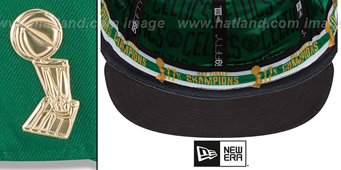 Celtics 'TROPHY-CHAMP' Green Fitted Hat by New Era