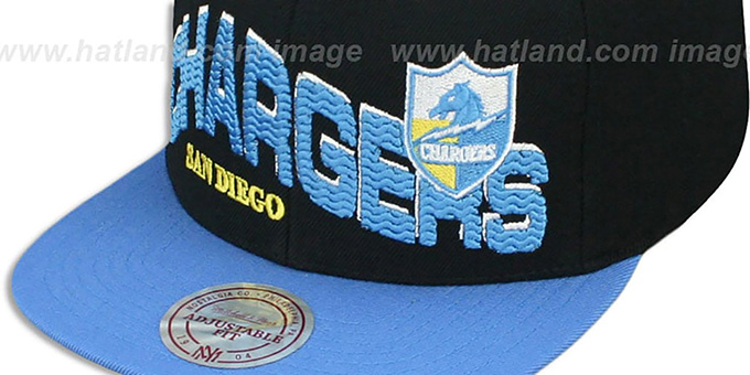 Chargers 'THE-WAVE SNAPBACK' Black-Sky Hat by Mitchell and Ness