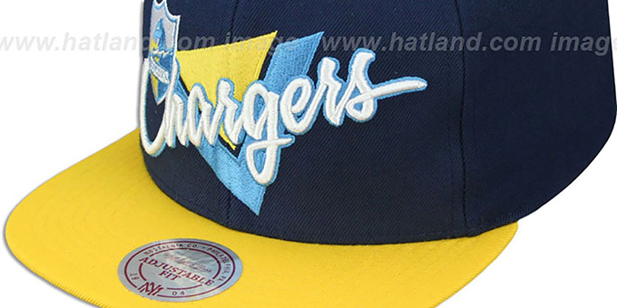 Chargers 'TRIANGLE-SCRIPT SNAPBACK' Navy-Gold Hat by Mitchell and Ness