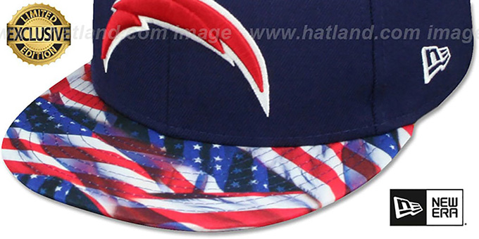 ca34b7812 ... Chargers  USA WAVING-FLAG  Navy Fitted Hat by New Era
