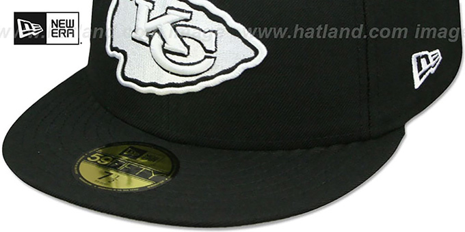 Chiefs 'NFL TEAM-BASIC' Black-White Fitted Hat by New Era