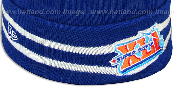 4e45f70e441 ... Colts  SUPER BOWL XLI  Royal Knit Beanie Hat by New Era