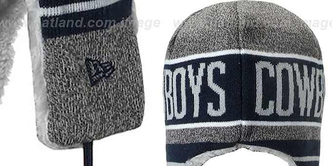 Cowboys 'FROSTY TRAPPER' Grey-Navy Knit Hat by New Era