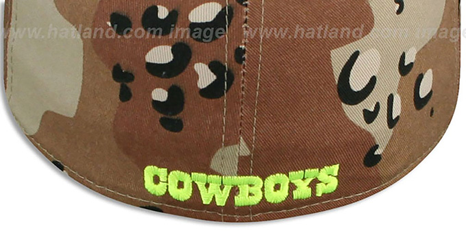 Cowboys 'NFL CAMO-POP' Desert Storm-Lime Fitted Hat by New Era