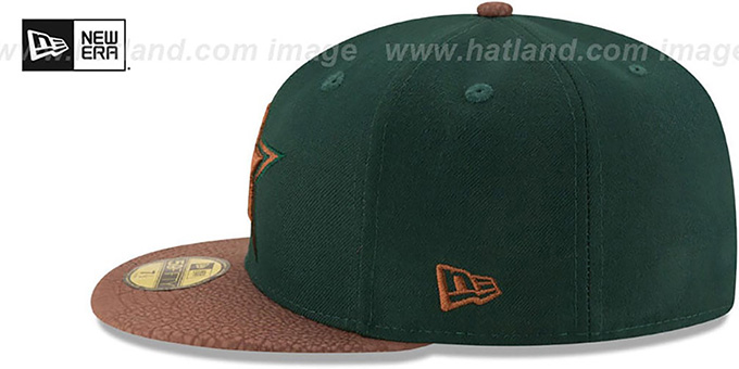 Cowboys 'RUGGED LEATHER' Green-Brown Fitted Hat by New Era