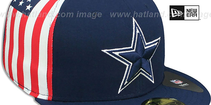 Cowboys 'USA FLAG-SIDE' Navy Fitted Hat by New Era